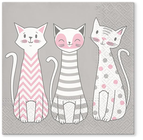 Serwetki Tissue 3-warstwowe, 33 x 33, Decor GLAM CATS, składane na 1/4, 240 szt. w op.