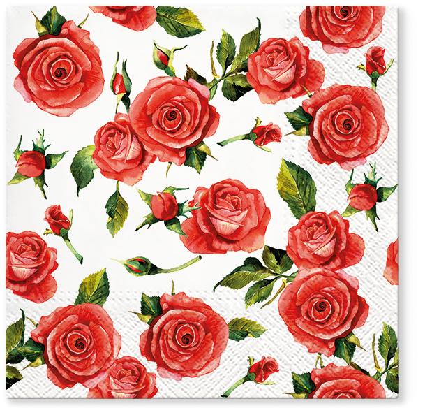 Serwetki Tissue 3-warstwowe, 33 x 33, Decor ROSY STYLE, składane na 1/4, 240 szt. w op.