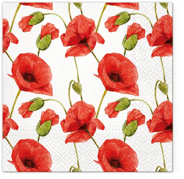 Serwetki Tissue 3-warstwowe, 33 x 33, Decor PAPAVER, składane na 1/4, 240 szt. w op.