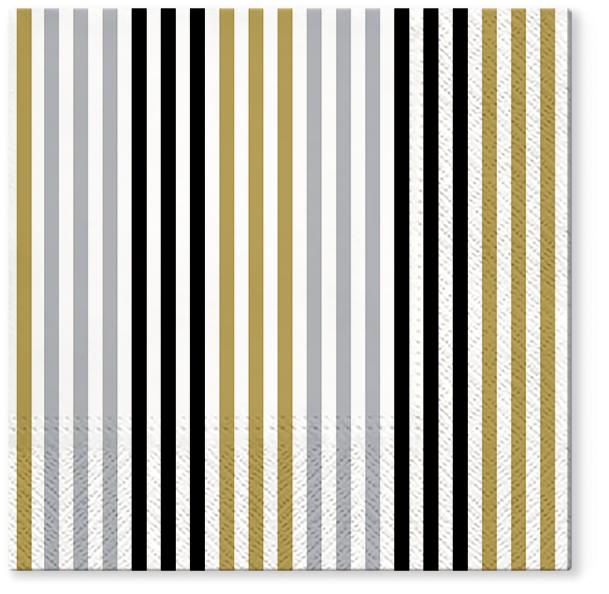 Serwetki Tissue 3-warstwowe, 33 x 33, Decor SIMPLE LINES Złote, składane na 1/4, 240 szt. w op.