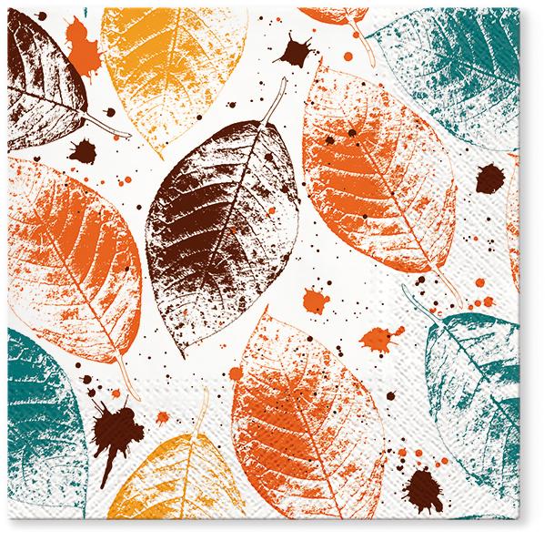 Serwetki Tissue 3-warstwowe, 33 x 33, Decor LEAVES PRINT Miodowe, składane na 1/4, 240 szt. w op.