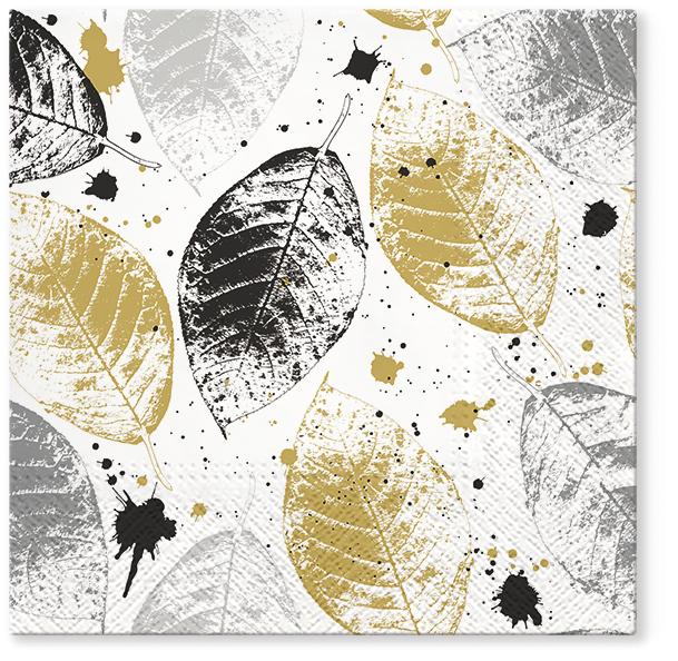 Serwetki Tissue 3-warstwowe, 33 x 33, Decor LEAVES PRINT Złote, składane na 1/4, 240 szt. w op.