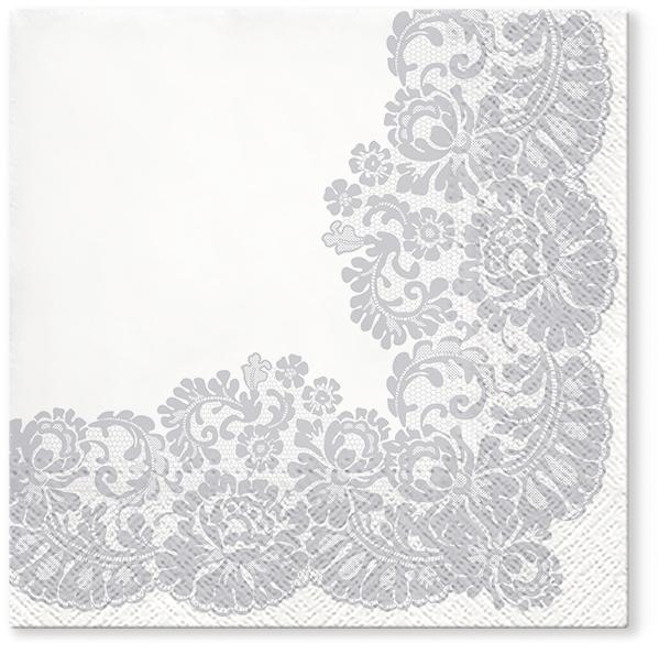 Serwetki Tissue 3-warstwowe, 33 x 33, Decor LACY FRAME Srebrne, składane na 1/4, 240 szt. w op.