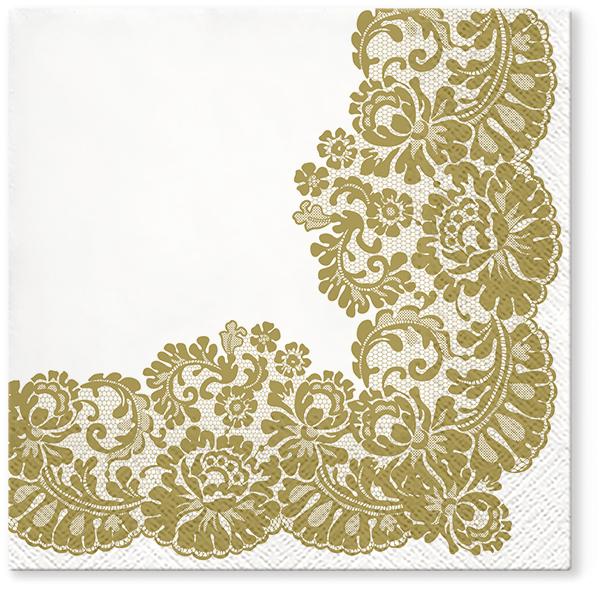 Serwetki Tissue 3-warstwowe, 33 x 33, Decor LACY FRAME Złote, składane na 1/4, 240 szt. w op.