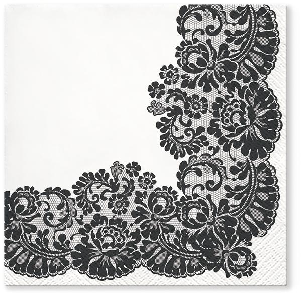 Serwetki Tissue 3-warstwowe, 33 x 33, Decor LACY FRAME Czarne, składane na 1/4, 240 szt. w op.