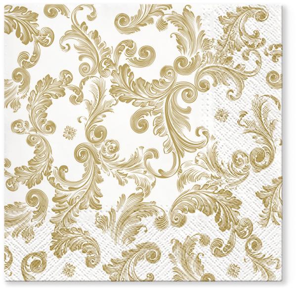 Serwetki Tissue 3-warstwowe, 33 x 33, Decor SOURCE OF FAME Złote, składane na 1/4, 240 szt. w op.
