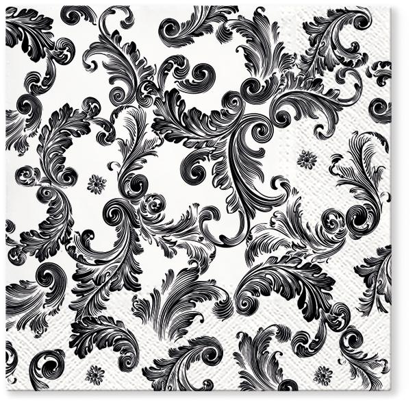 Serwetki Tissue 3-warstwowe, 33 x 33, Decor SOURCE OF FAME Czarne, składane na 1/4, 240 szt. w op.