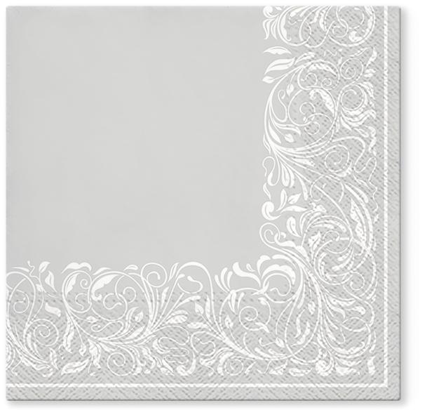 Serwetki Tissue 3-warstwowe, 33 x 33, Decor ELEGANT TANGLE, składane na 1/4, 240 szt. w op.