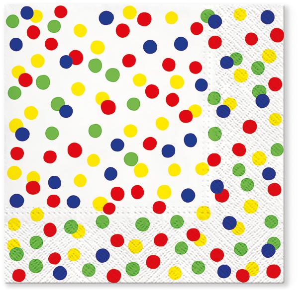 Serwetki Tissue 3-warstwowe, 33 x 33, Decor DOTS CONFETTI Kolorowe, składane na 1/4, 240 szt. w op.