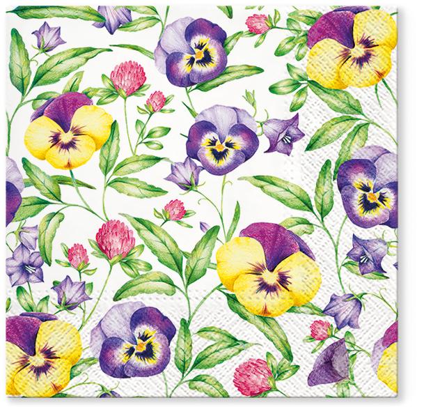 Serwetki Tissue 3-warstwowe, 33 x 33, Decor BEAUTIFUL PANSIES, składane na 1/4, 240 szt. w op.