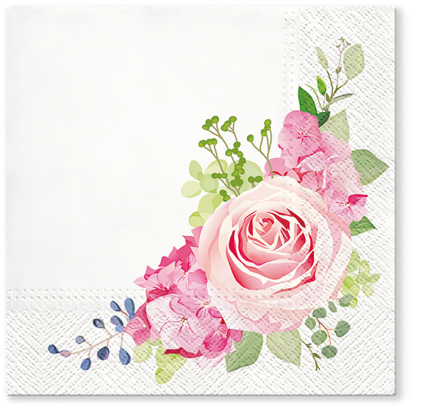 Serwetki Tissue 3-warstwowe, 33 x 33, Decor NOSTALGIC ROSE, składane na 1/4, 240 szt. w op.
