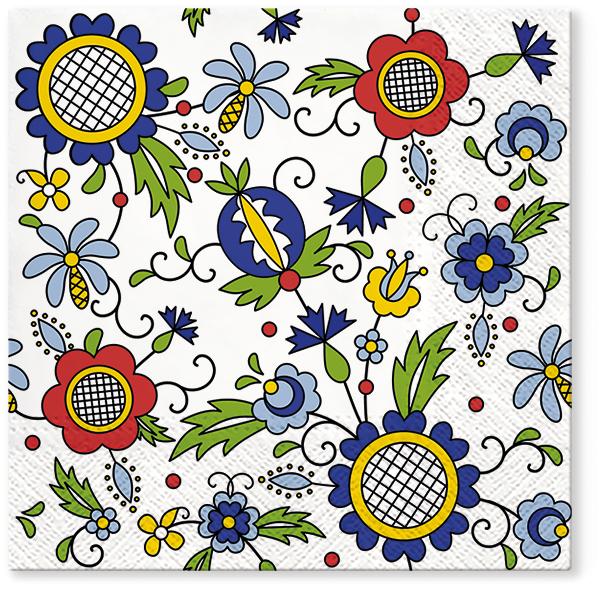 Serwetki Tissue 3-warstwowe, 33 x 33, Decor KASHUBIAN STYLE, składane na 1/4, 240 szt. w op.