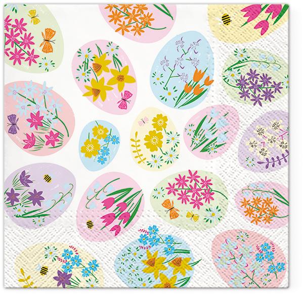 Serwetki Tissue 3-warstwowe, 33 x 33, Decor FLOWERED EGGS, składane na 1/4, 240 szt. w op.