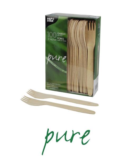 """Widelce z drewna, """"pure"""", 16,5 cm, 1000 szt. w op."""