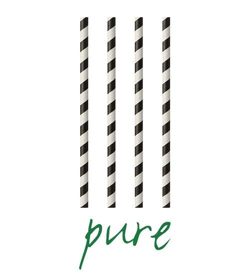 """Słomki z papieru, """"pure"""", średnica 6 mm, 20 cm, Czarno/Białe, """"Stripes"""", 1000 szt. w op."""