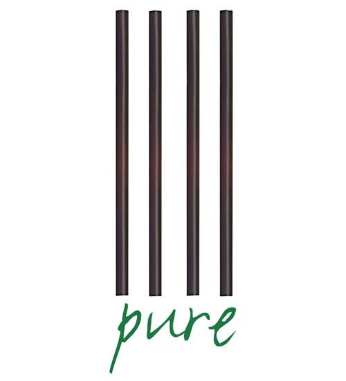 """Słomki z PLA, """"pure"""", średnica 8 mm, 25 cm, Czarne, 1350 szt. w op."""