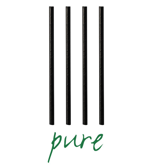 """Słomki z papieru, """"pure"""", średnica 8 mm, 21 cm, Czarne, 1000 szt. w op."""