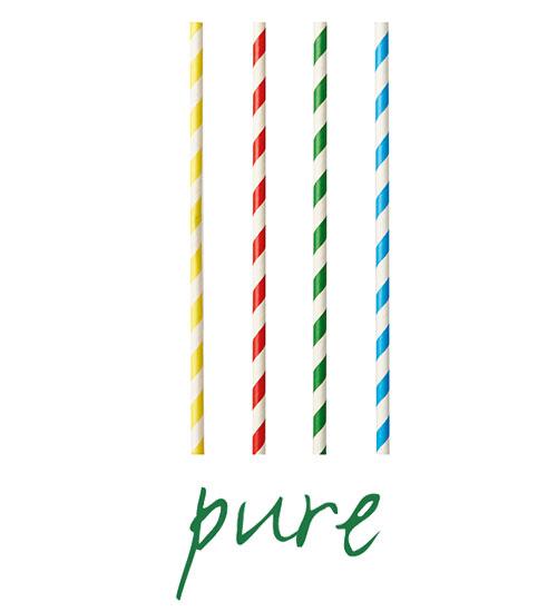 """Słomki z papieru, """"pure"""", średnica 8 mm, 21 cm, Kolorowe, """"Stripes"""", 1000 szt. w op."""