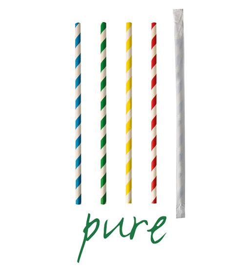 """Słomki z papieru, """"pure"""", średnica 6 mm, 20 cm, Kolorowe, """"Stripes"""", pojedynczo pakowane, 1000 szt. w op."""