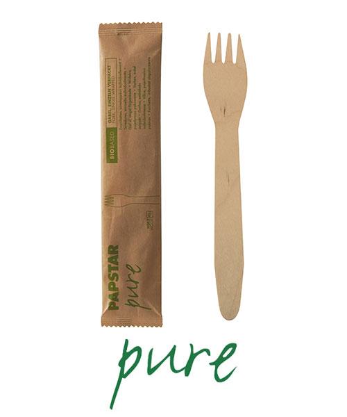 """Widelce z drewna, """"pure"""", 15,5 cm, pojedynczo pakowane w papierowej saszetce, 500 szt. w op."""