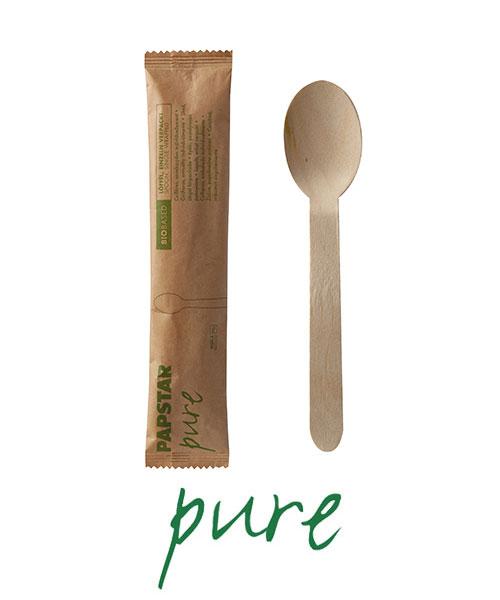 """Łyżki z drewna, """"pure"""", 16 cm, pojedynczo pakowane w papierowej saszetce, 500 szt. w op."""