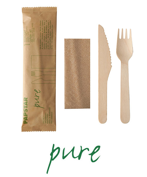 """Komplety sztućców z drewna, """"pure"""", nóż, widelec, serwetka w papierowej saszetce, 500 szt. w op."""