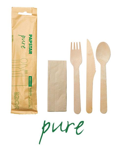 """Komplety sztućców z drewna, """"pure"""", nóż, widelec, łyżka, serwetka w papierowej saszetce, 30 szt. w op."""