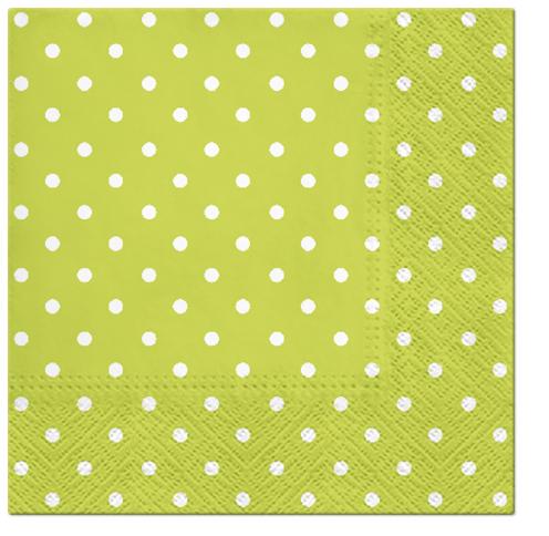 Serwetki Tissue 3-warstwowe, 33 x 33, Decor DOTS zielone, składane na 1/4, 240 szt. w op.