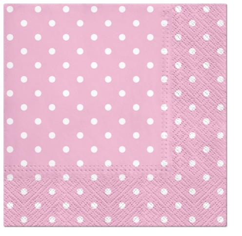 Serwetki Tissue 3-warstwowe, 33 x 33, Decor DOTS jasno różowe, składane na 1/4, 240 szt. w op.
