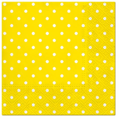Serwetki Tissue 3-warstwowe, 33 x 33, Decor DOTS żółte, składane na 1/4, 240 szt. w op.