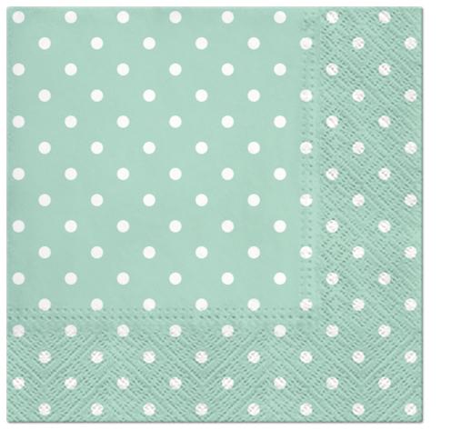 Serwetki Tissue 3-warstwowe, 33 x 33, Decor DOTS miętowe, składane na 1/4, 240 szt. w op.
