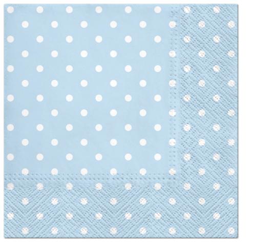 Serwetki Tissue 3-warstwowe, 33 x 33, Decor DOTS jasno niebieskie, składane na 1/4, 240 szt. w op.