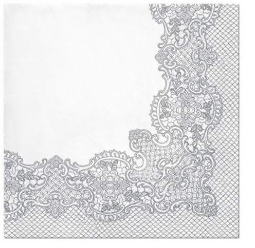 Serwetki Tissue 3-warstwowe, 33 x 33, Decor ROYAL LACE srebrne, składane na 1/4, 240 szt. w op.