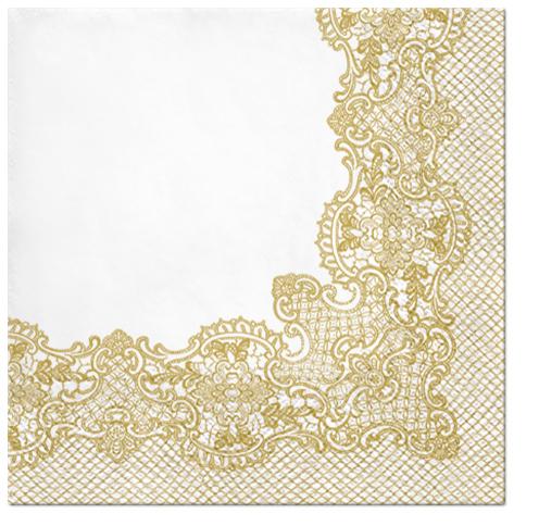 Serwetki Tissue 3-warstwowe, 33 x 33, Decor ROYAL LACE złote, składane na 1/4, 240 szt. w op.