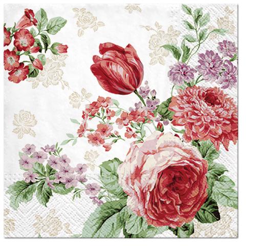 Serwetki Tissue 3-warstwowe, 33 x 33, Decor MYSTERIOUS ROSES, składane na 1/4, 240 szt. w op.