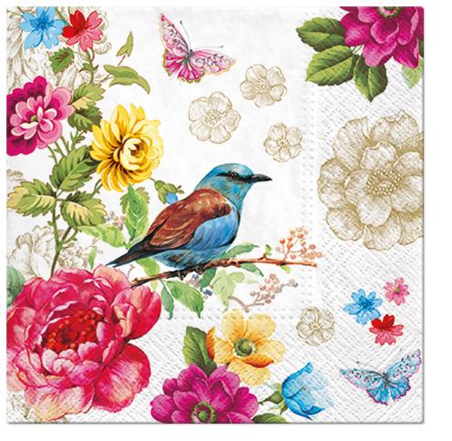 Serwetki Tissue 3-warstwowe, 33 x 33, Decor BIRD OF PARADISE, składane na 1/4, 240 szt. w op.
