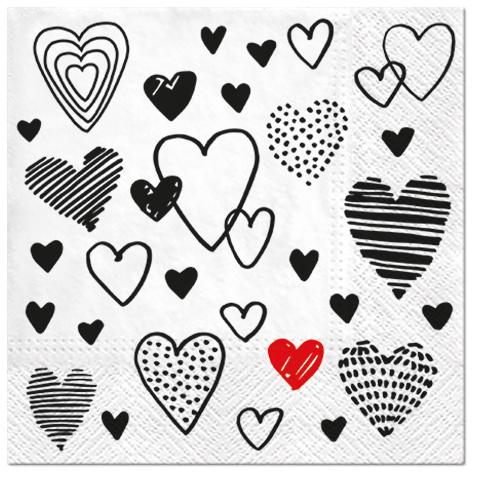 Serwetki Tissue 3-warstwowe, 33 x 33, Decor CRAZY LOVE czarne, składane na 1/4, 240 szt. w op.