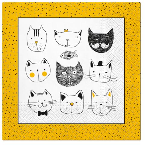 Serwetki Tissue 3-warstwowe, 33 x 33, Decor FUNNY CATS, składane na 1/4, 240 szt. w op.
