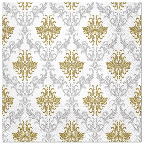Serwetki Tissue 3-warstwowe, 33 x 33, Decor ROYAL ORNAMENT srebrne, składane na 1/4, 240 szt. w op.