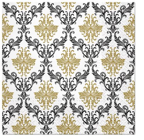 Serwetki Tissue 3-warstwowe, 33 x 33, Decor ROYAL ORNAMENT złote, składane na 1/4, 240 szt. w op.