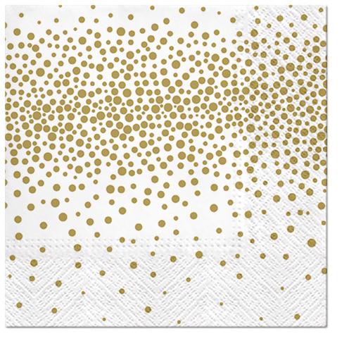 Serwetki Tissue 3-warstwowe, 33 x 33, Decor CONFETTI złote, składane na 1/4, 240 szt. w op.