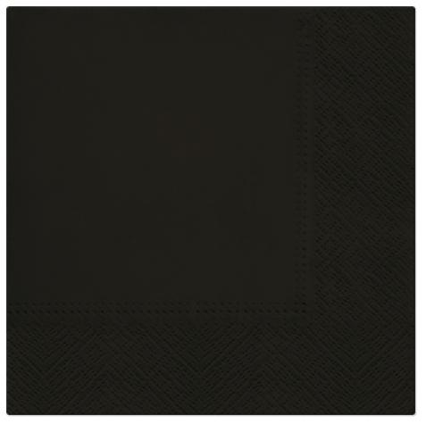 Serwetki Tissue 3-warstwowe, 33 x 33, Black, składane na 1/4, 240 szt. w op.
