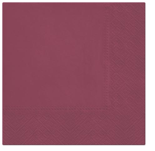 Serwetki Tissue 3-warstwowe, 33 x 33, Bordeaux, składane na 1/4, 240 szt. w op.