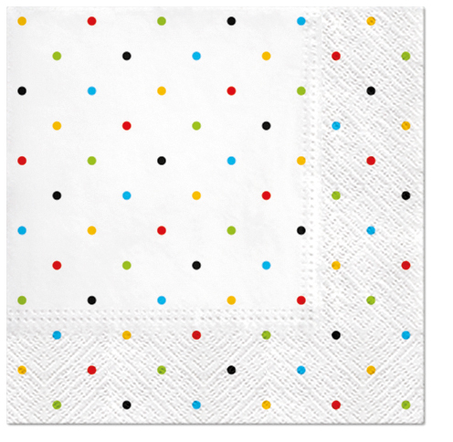 Serwetki Tissue 3-warstwowe, 33 x 33, Decor COLORFUL DOTS, składane na 1/4, 240 szt. w op.