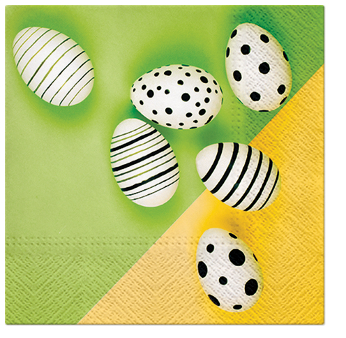 Serwetki Tissue 3-warstwowe, 33 x 33, Decor MODERN EGGS zielone, składane na 1/4, 240 szt. w op.