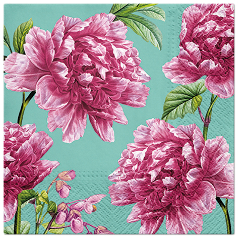 Serwetki Tissue 3-warstwowe, 33 x 33, Decor BEAUTIFUL PEONIES, składane na 1/4, 240 szt. w op.