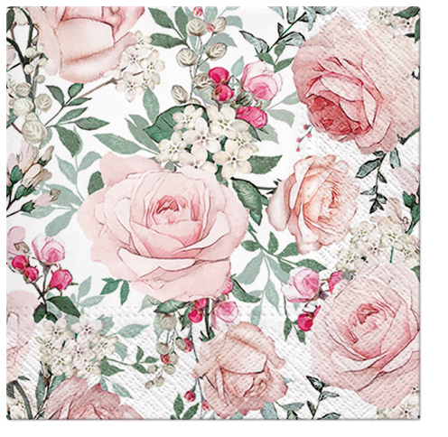Serwetki Tissue 3-warstwowe, 33 x 33, Decor GORGEOUS ROSES, składane na 1/4, 240 szt. w op.