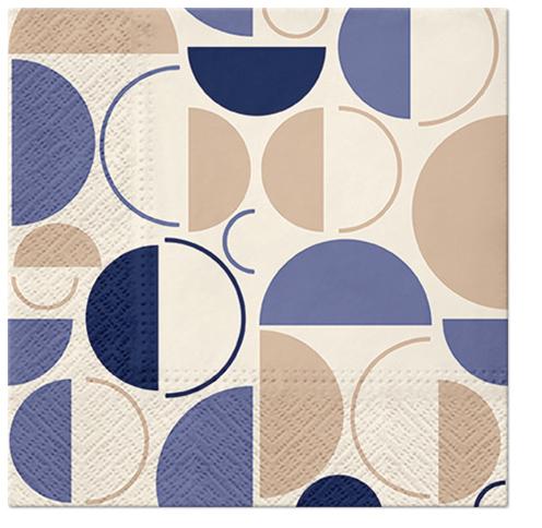 Serwetki Tissue 3-warstwowe, 33 x 33, Decor STYLISH RINGS kremowe, składane na 1/4, 240 szt. w op.