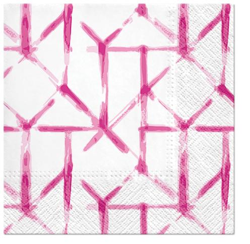Serwetki Tissue 3-warstwowe, 33 x 33, Decor WATERCOLOR GRID różowe, składane na 1/4, 240 szt. w op.
