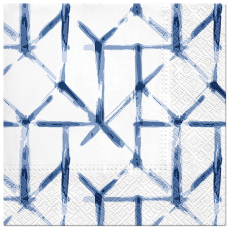 Serwetki Tissue 3-warstwowe, 33 x 33, Decor WATERCOLOR GRID niebieskie, składane na 1/4, 240 szt. w op.